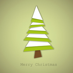 Simple vector christmas tree made from green and white paper