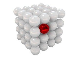 Red ball among set of white balls