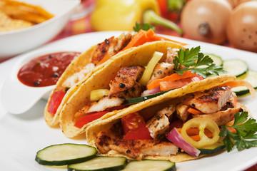 Chicken salad in taco shells