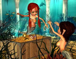 Photo sur Aluminium Mermaid Meerjungfrauen