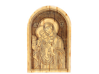 wooden icon made of birch bark