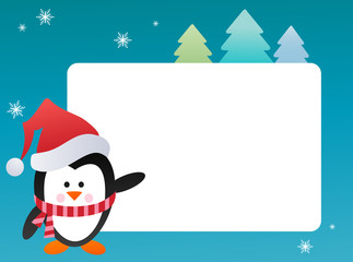 Penguin on snowy background , vector