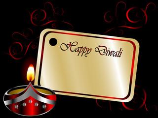 Fototapete - Black Diwali background with lamp