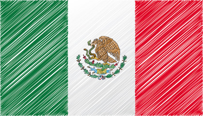 Mexico flag, vector illustration