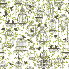 Wall Murals Birds in cages Birds and cages vintage pattern