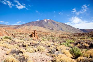 View of volcano Mount Teide, in Teide National Park, in Tenerife