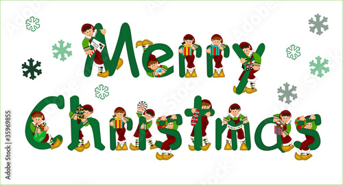 merry christmas sign with elves - Merry Christmas Elf