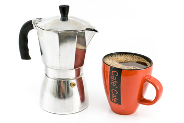 Espresso maker with cup of coffee