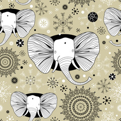 winter pattern with pictures of elephants