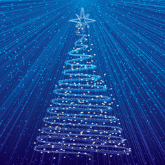 Christmas tree on blue background - xmas card with rays of light