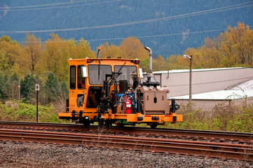 Machinery Work on Railroad Tracks