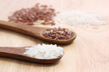 Rice with wood background