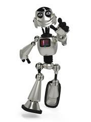 funny robot in happy running