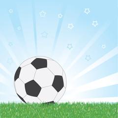 Soccer ball on star blue shiny background