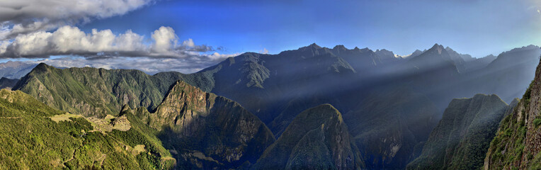 HDR Panorama of Sunrise over the RuinsMachu Picchu