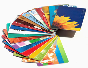 Credit cards on a white background