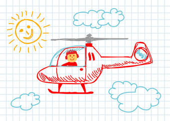 Drawing of helicopter