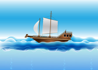 Beautiful Sailing Boat Illustration