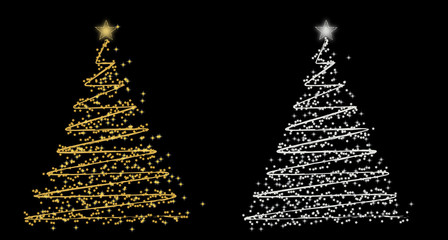 set of rwo vector Christmas tree (gold and silver)