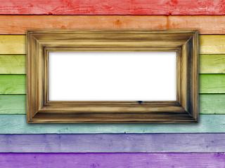 Frame on rainbow planks of wood
