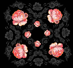 grey design and red rose flowers on black