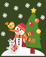 Christmas card. A set of vector elements in the New Year theme