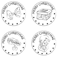 4 christmas coin stamps santa present pine branch bow