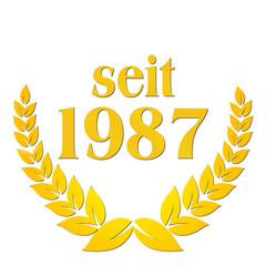 seit 1987  jubiläum lorbeerkranz lorbeer gold