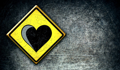 Love heart road sign