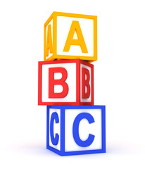 abc colorful cubes on white.