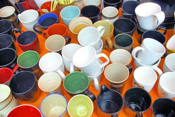 Colored cups at the Xiamen market