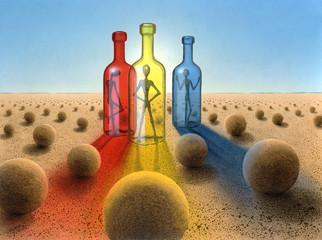 three bottles in surreal desert ambiance