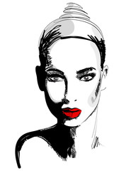 Beautiful hand drawn style elegant woman portrait
