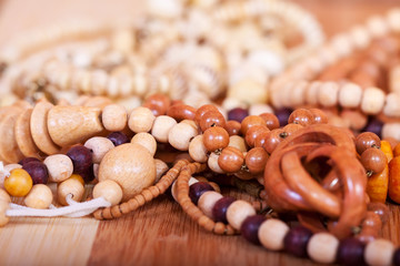 wooden beads background
