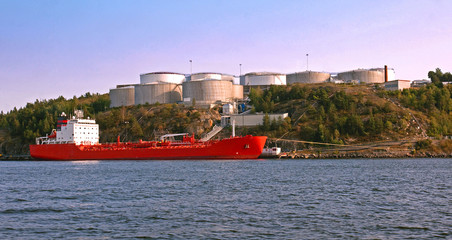 Tanker and Silos in harbour.