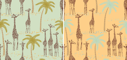 Two giraffes seamless patterns in a retro style