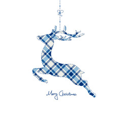 Hanging Reindeer Checked Pattern Blue