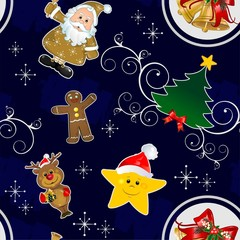 Christmas seamless blue background