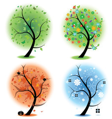 Four seasons - spring, summer, autumn, winter Art