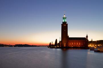 Stockholm city hall at night.