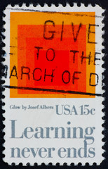 Postage stamp USA 1980 Glow by Josef Albers