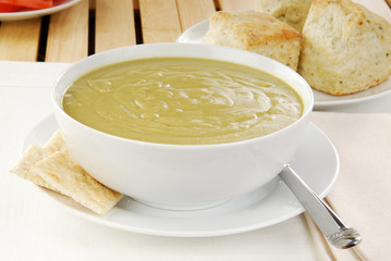 Bowl of split pea soup
