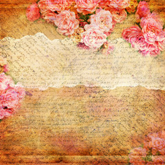 Grunge abstract background with roses