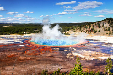 Garden Poster Natural Park Grand Prismatic Spring In Yellowstone