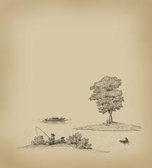 Old lake illustration