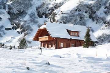 wooden house in alps