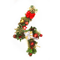 Christmas aplhabet number 4