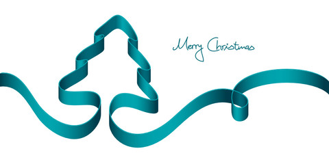 Xmas Card Turquoise Ribbon Xmas Tree