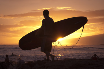 Silhouetted Surfer