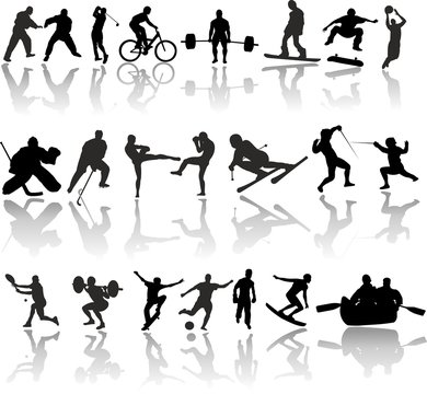 Silhouette of sport people